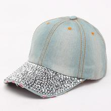 Unique Hip Hop Snapback Adjustable Soft Casual Hot drilling Bling Breathable Cowboy Jeans Baseball Cap for men women unisex(China)