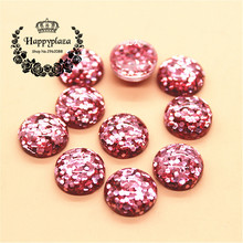 50pcs 12mm Glitter Pink Resin Round Flatback Cabochon DIY Scrapbooking Phone/Decoration Button Craft
