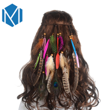M MISM Women Festival Feathers Headband New Ethnic Hair Accessories Hippie Hair Rope Carnival Fashion Vintage Colorful Headpiece(China)