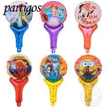 10pcs/lot elsa and anna mickey minnie mouse Hand Holding Sticks Balloon princess spiderman Foil Balloons Party Supplies Toys