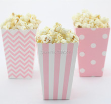 Free Ship 36pcs Pink  Paper Box Baby Shower Decoration Pop Corn Boxes Girl's Birthday Party mix 3 style Chevron Stripe Polka dot