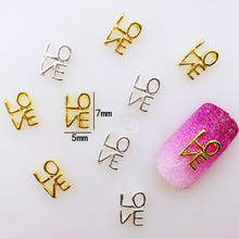 "10Pcs/Lot Japan 5*7mm Valentine's Day Letter""love"" 3D DIY Metal Alloy Nail Art Deco Nail Stickers/Charms/ Tools for Manicure"