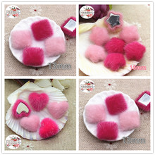 50pcs pink Flatback hairy Fabric Covered heart/square/star Buttons Home Garden Crafts Cabochon Scrapbooking