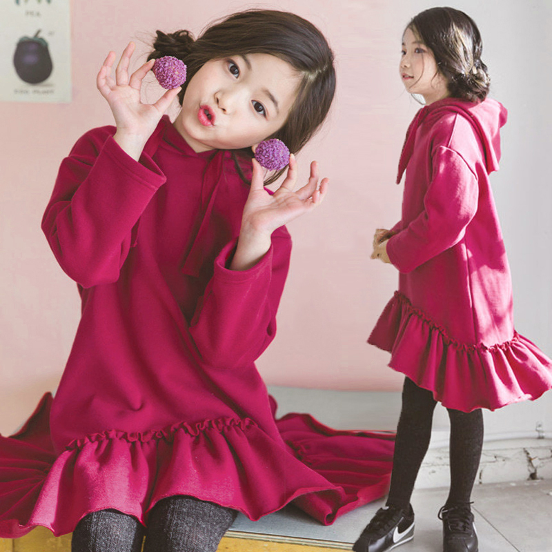 2017 Girls Pullover Hoodies Sweater shirts for Teens Teenage Kids Fashion Hooded Warm Clothes 456789 10 11 12 13 14 Years Old<br>