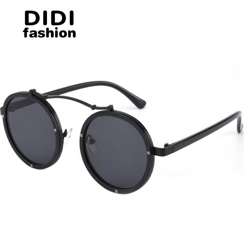 d6e820da9f0f DIDI Round Steampunk Sunglasses Women Men Flat Top Metal Frame Circle Lens  Eyewear Hippie Glasses Lady