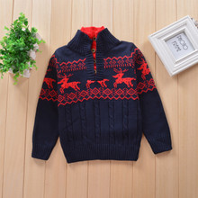 Hurave Baby boys baby Turtleneck elk pattern Children's Sweaters Clothes Long Sleeve Round Collar kintted Sweater kids Clothing(China)