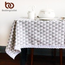BeddingOutlet Gray and White Triangle Tablecloth Cotton and Linen with Lacy Dinner Table Cloth Simple Decoration Table Cover