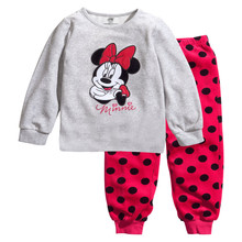 Children's pajamas set Spring&autumn fashion cartoon baby girls clothing set 100% cotton girl's pyjamas Sleepwear Grey dots p021