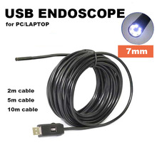 7mm USB Endoscope Camera Cmos Cable Waterproof 2m 5m 10m Borescope Inspection 6-LED Tube Visual Camera Compatible with PC/Laptop