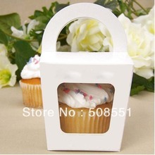 Free shipping Simple Cupcake box With Handle single cupcake boxes pudding case with lining 12pcs