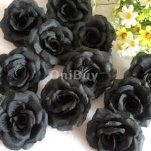 20Pcs Black Rose Heads Artificial Silk Flower Party Wedding Office Garden decorative flower DIY Creative Home Decor Gift(China)
