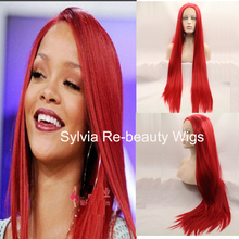 high quality bright red silky straight wig with natural parting glueless synthetic lace front wigs heat resistant fiber