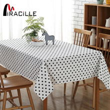 Miracille Simple Black Spot Print Dining Tablecloth Cotton Linen Dustproof Table Cover for Bar Counter Outdoor Picnic Decorative