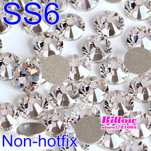 Best quality ss6 (1.9-2.0mm) Clear Flat Back Nail Art Non Hot Fix Round Glue on Rhinestones Glass Crystals for Women Bags B1037