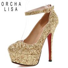 ORCHA LISA Plus size 34-43 Buckle Strap Thin Ultra high heel Women pumps  Round toe Gold Glitter platform wedding shoes A286C 3411a654a0c1