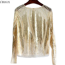 High Quality Ladies Tops 2017 Spring New Arrival Beading Shirt Long Sleeve Sexy Perspective Womens Mesh t shirts Women Tshirt