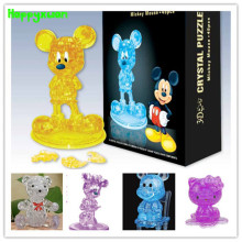 Happyxuan DIY 3D Crystal Puzzle Jigsaw Cartoon Mickey Minnie Kitty Pink Blue Transparent Children's Birthday Gift