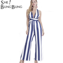 Buy SheBlingBling Cross Backless Sexy Long Playsuit Slim Striped Office Lady Elegant Jumpsuit Sleeveless Halter Women Jumpsuits