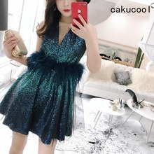 Cakucool Sequined Dresses Sleeveless Beading Sundress Deep V-neck Sexy Vestido Ostrich hair Mesh Party Club Embellish Sundresses(China)