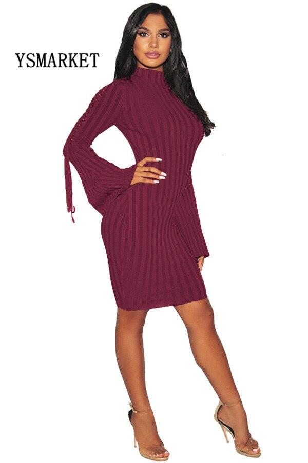 2018 Autumn Women Vintage Knitted Bodycon Dress Fashion Lace Up Flare Sleeve Stand Collar Slim Pencil Dress ESMR8724Îäåæäà è àêñåññóàðû<br><br>