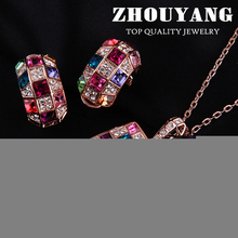 Top Quality ZYS035 Rose Gold Color Party Queen Jewelry Necklace Earring Set Rhinestone Made with Austrian Crystals