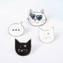 Timlee X113 Fashion Cute I love Cat Kitty Metal Brooch Pins Button Pins Jeans Bag Decoration Gift Wholesale