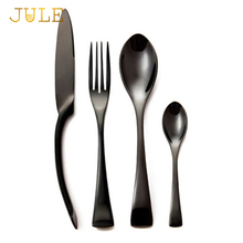 Top Quality Black Cutlery Set 24piece 18/8 Stainless Steel Knifes Forks Tablespoons Black Dinner Set 24 piece 6 person Tableware(China)