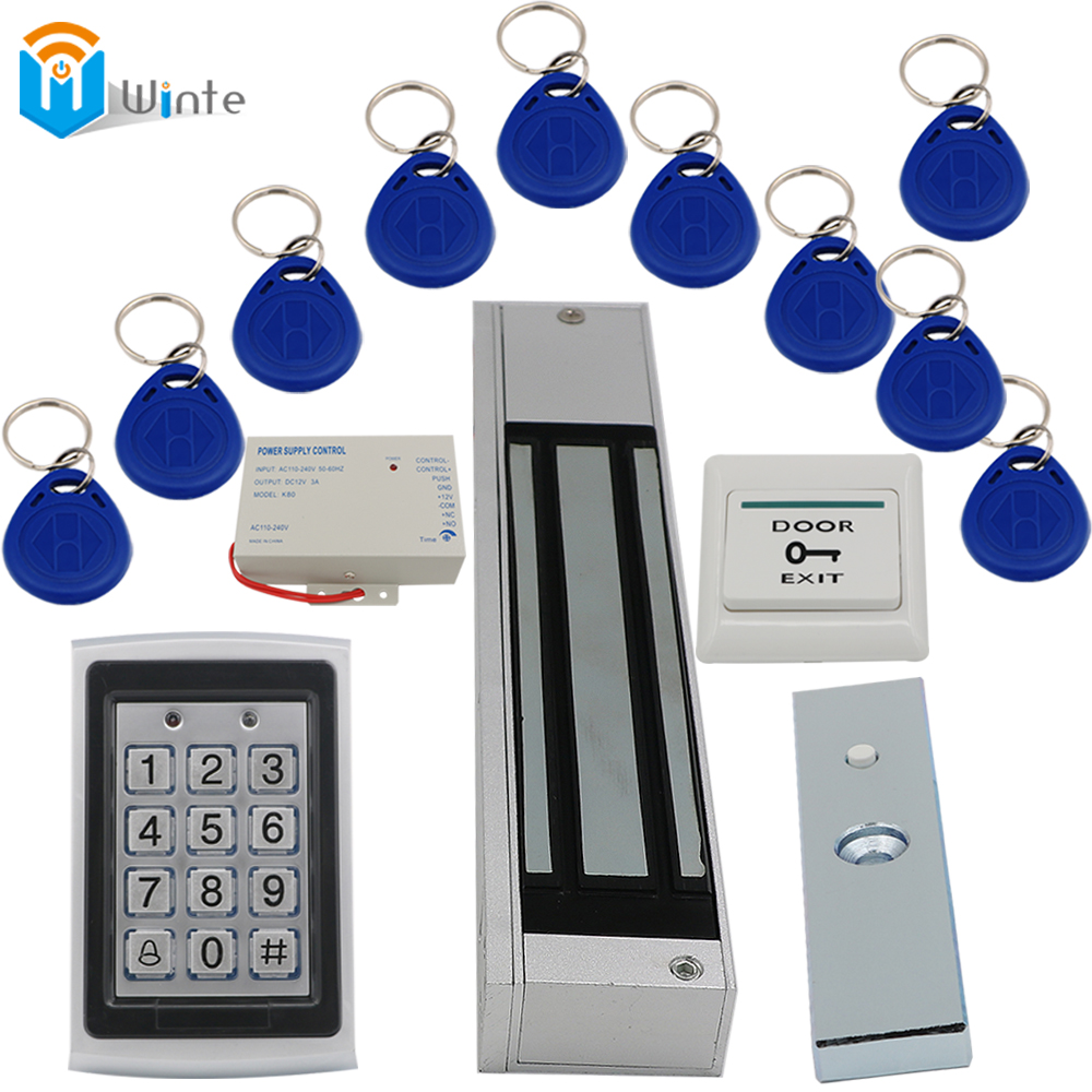 280KGs Door magnetic Lock+ Waterproof RFID Card Reader+ Keychain rfid card+Power supply+ exit button Access Control system Winte<br>