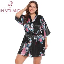 IN'VOLAND Plus Size 5XL Sleepwear Dress Vintage Women's 3/4 Sleeve Floral Print Wrap Satin Kimono Large Homewear Robe Big Size(China)