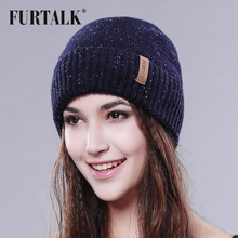 FURTALK wool hat warm winter women hat fashion hat for winter brand beanie hat