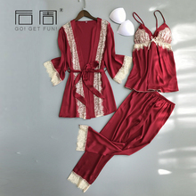 Female Sleepwear 2018 Spring Autumn Women Pijama Silk Pajamas for Women Women Pyjamas Set HIgh Quality 3Pieces Home Clothing(China)
