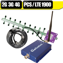 Lintratek 2G/3G PCS UMTS 1900 4G LTE 1900 Band 2 Cell Phone Signal Repeater 65dB Cellular Mobile Repeater Amplifier Antenna Kit