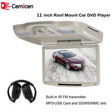 Cemicen 11 Inch Car Roof Flip Down TFT LCD 800*480 Monitor Mount DVD Player With USB/SD/MP5/IR/FM Transmitter/Wireless Game(China)
