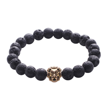 Black Buddha Prayer Bracelets New Design High Quality Round Beads Stretch Energy Yoga Relax Jewelry Lion Head Men Charm Bracelet