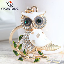 Fashion cute owl leaves and twigs Pendant keychain Fashion Rhinestone Crystal Creative ladies dress handbag wallet Jewelry