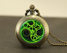 Steampunk UK drama doctor dr who tardis time vintage new Necklace bronze silver Pendant jewelry pocket watch chain mensHZ1(China)