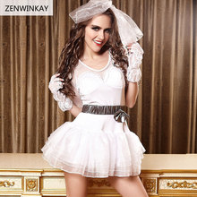 Female White Bridal Sex Clothes Slutty Sexy Wedding Lingerie Bride Sexy Cosplay Dress Adult Role Play Costumes 3 Pieces Set(China)