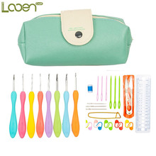 Looen Green Beard Bag 31Pcs Set Multi-colour Aluminum Yarn Crochet Hooks Needle Kit For Knit Yarn Weave Craft Yarn 2.0-6.5MM