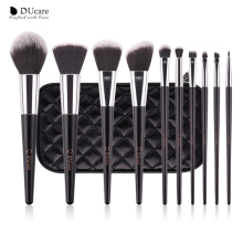 DUcare make up brushes 10pcs professional brand makeup brushes high quality brush set with black bag beauty essential brushes(China)