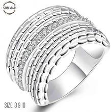 Wholesale 2017 new silver plated ring Multilayer lines Zircon thumb ring size 8 9 10 anel feminino charms