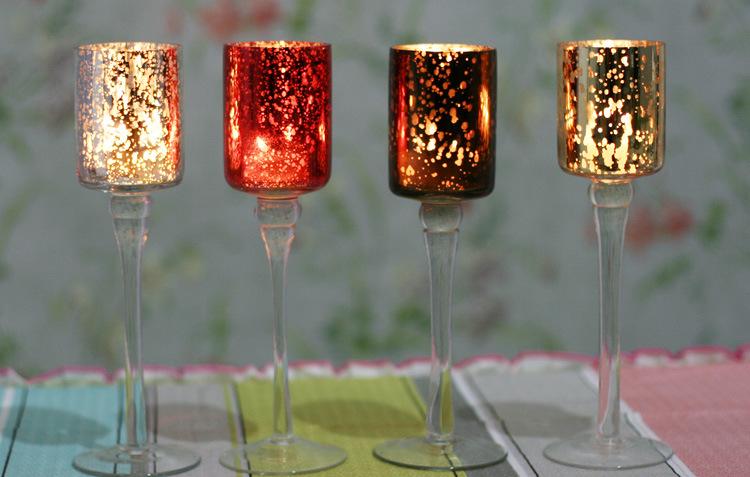 Hot Sell Mosaic Glass Candlestick Romantic Wedding Gauges European Candlestick Ktv Bar Creative Fashion Simple Home Decoration 8