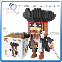 Mini Qute LOZ movie characters Pirates Caribbean Captain Jack plastic building blocks model educational toy - WTOYW METAL PUZZLE & PLASTIC BLOCKS WORLD store