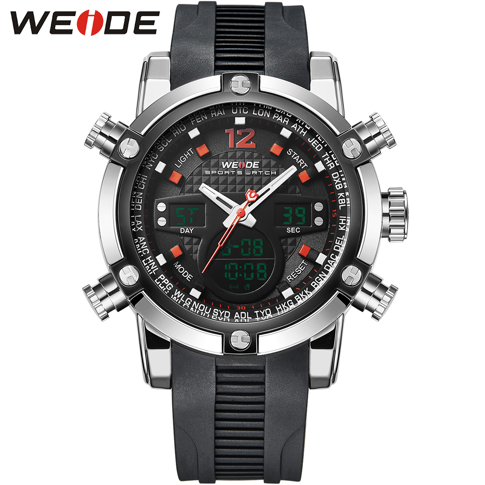 WEIDE Analog Digital Wristwatch Mens Man Dual Display Quartz Double Movement Water Resistant Auto Date Alarm Stopwatch Sport <br>