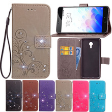 Luxury Lucky Clover Wallet Leather Phone Case Meizu M3 Note Flip Card Holder Stand 3D DiamondFashion Cover Meizu M3 Note