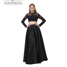 Modest Black Two Piece Prom Dresses Cheap 2017 Robe De Soiree Long Sleeves Sheer Evening Gowns Sexy Party Gowns