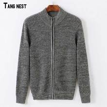 TANGNEST Men Cardigans 2017 New Autumn Men's Solid Color Casual Cardigans Basic Zipper Sweaters Slim Fit Tops MZL771