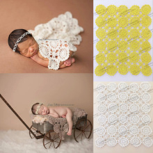 Handmade Crochet baby blanket photography props Blankets Newborn Photography Prop,Rosette Wrap Baby Pattern Knitted Photo Prop Z(China)