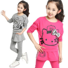 2015 New Spring kids clothes girls clothing sets hello kitty sport casual children clothing set girls tops+leggings skirt pants