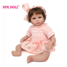 NPKDOLL 42 cm Baby Reborn Dolls Realistic BeBe Reborn Soft Silicone Dolls For Girls Lifelike Baby Doll Toy Christmas Gift(China)