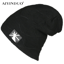 All-Match Winter Cap for Women Unisex Chic Union Jack Pattern Applique Crochet Ski Beanie Plus Velvet Thick Acrylic Knitted Hats